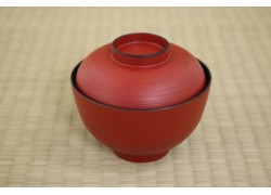 Bowl with Lid (Plastic Lacquer) - Red